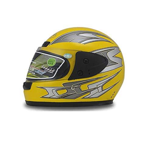 Casco Moto Integrale, Casco Moto Ribaltabile, Antiappannamento For Uomo Adulto Vestito Da Donna For (56-59 Cm) (Color : Yellow)