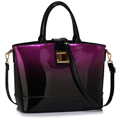41cPNJwl SL - BEST BUY #1 Ladies Faux Leather Quality Handbag Women's Fashion Designer Tote Bag Celebrity Style Quality Bags CWS00329 (PURPLE TWO TONE PATENT BAG) Reviews and price compare uk