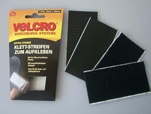 Velcro Extrastarke Klett Streifen zum Aufkleben schwarz