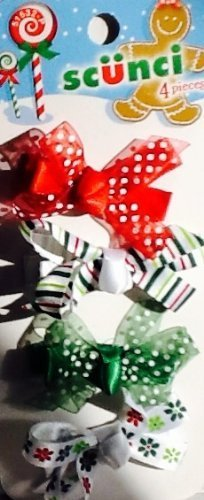scunci-hair-clips-4-no-damage-holiday-hair-decorations-satin-ribbon-bows-christmas-by-scunci
