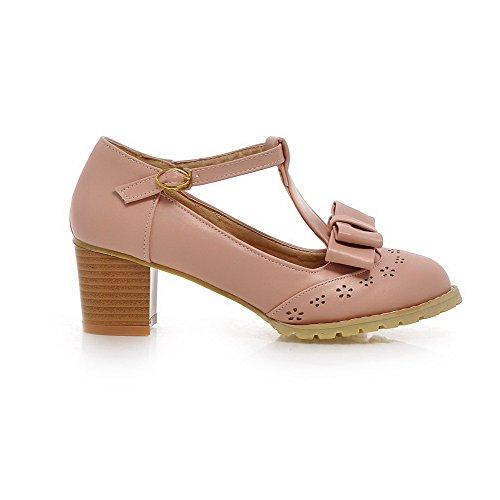VogueZone009 Femme Matière Souple Boucle Rond à Talon Correct Couleur Unie Chaussures Légeres Rose