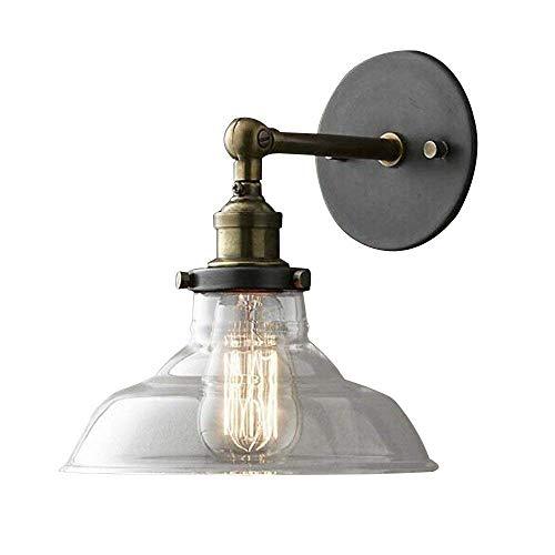 Minm lampada da parete a luce americana, lampada da parete con cappello di paglia in vetro
