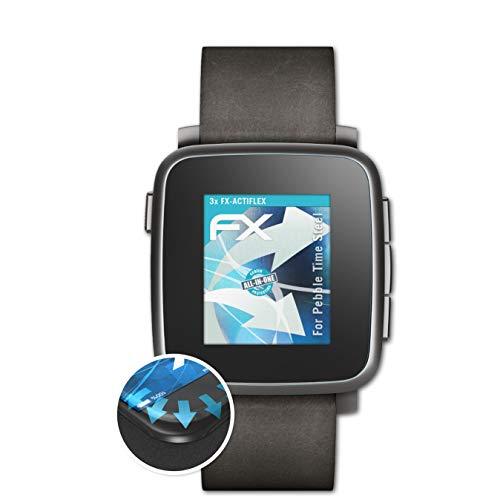 atFoliX Schutzfolie passend für Pebble Time Steel Folie, ultraklare & Flexible FX Bildschirmschutzfolie (3X)