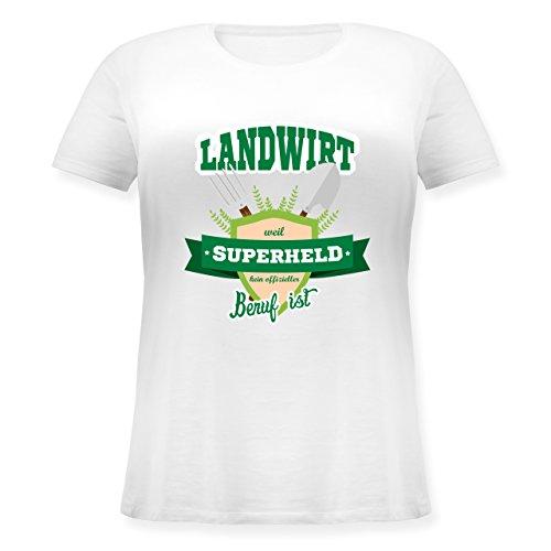 Landwirt - Landwirt - weil Superheld kein offizieller Beruf ist - S (44) - Weiß - JHK601 - Lockeres Damen-Shirt in großen Größen mit Rundhalsausschnitt (Plus Size Superhelden Shirts)