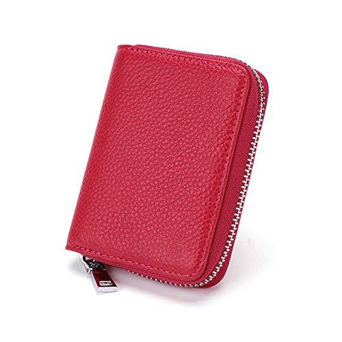 Frauen Männer Brieftasche Leder Kreditkarteninhaber mit RFID Blocking Zipper Mini Handgefertigte Geldbörse 9 Kartenfächer