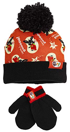 Bing bunny set cappello e guanti bambino, morbido caldo berretto pompon unisex, regali di natale per bambini a tema personaggi coniglio bing bunny serie tv con hoppity voosh