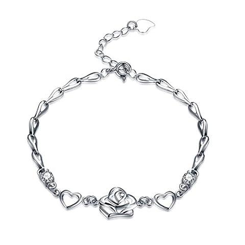 Hmilydyk élégant pour femme Bracelet Argent sterling 925Cœur Fleur Swarovsky Élément Oxyde de Zirconium Cristaux