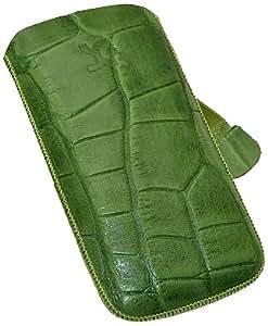 Original Suncase Echt Ledertasche für Samsung Wave 2 GT S8530 in croco-grün