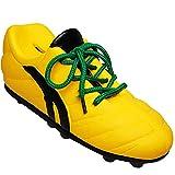 Unbekannt 2 Stück _ 3D Effekt - Spardosen - Fußballschuh / Sportschuh - Schuh - mit echten Schnürsenkel ! - gelb grün - stabile Sparbüchse aus Porzellan / Keramik - Fuß..