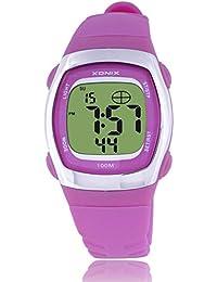Reloj electrónico digital de múltiples funciones de los ni?os,Jalea led 100 m resina resistente al agua correa alarma cronómetro hora dual chicas o chicos moda reloj de pulsera-F