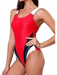 FITTOO Damen Vintage Figuroptimizer X-Rücken Einteiliger Sport Badeanzug  mit Bein de4ec9381c
