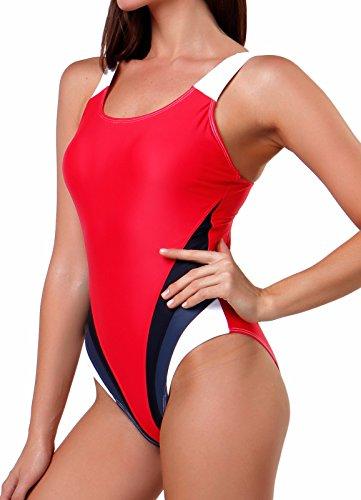FITTOO Damen Vintage Figuroptimizer X-Rücken Einteiliger Sport Badeanzug mit Bein Rot M