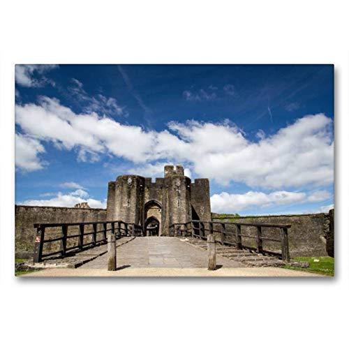 Calvendo Premium Textil-Leinwand 90 cm x 60 cm quer, Caerphilly Castle | Wandbild, Bild auf Keilrahmen, Fertigbild auf echter Leinwand, Leinwanddruck: Wales Natur Natur -