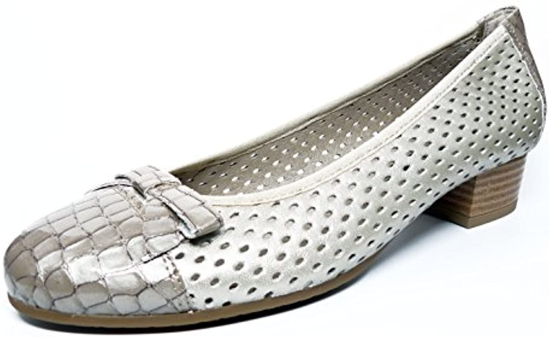 Zapato mujer manoletina tacon de la marca PITILLOS en piel picada color Beige ad. puntera y lazo charol Beige...