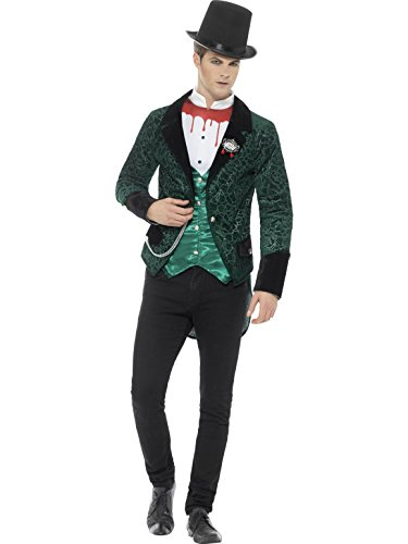 Smiffys Herren Deluke Viktorianischer Vampir Kostüm, Jacke mit -