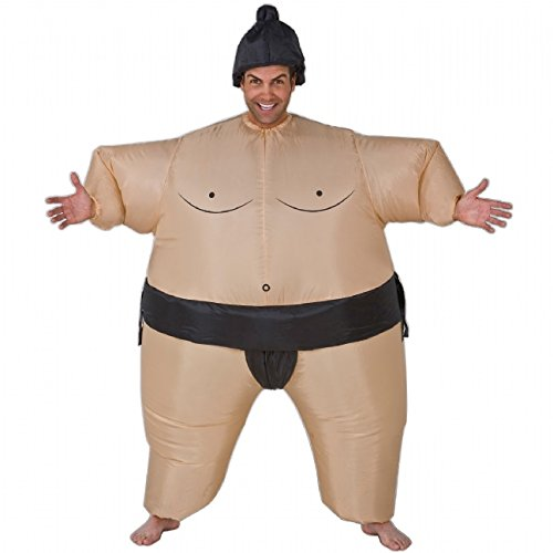 Gonfiabile Japan Wrestling Sumo grasso si adatta Blow Up Fancy Dress Costume divertente divertente Halloween novità