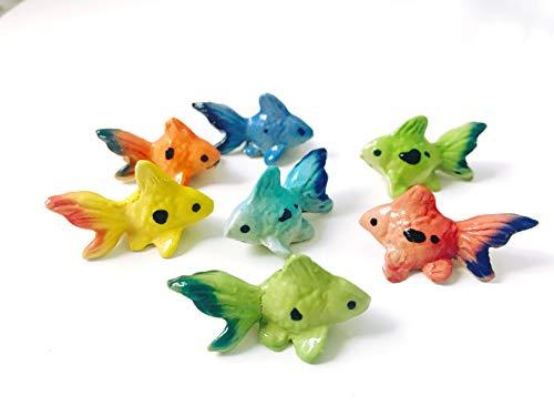 Tyga_Thai Markenset 4-TLG. Miniatur-Figur Goldfische aus Keramik, bemalt, dekorative Sammlerstücke (Keramik-GOLDFISHS-Tier) -
