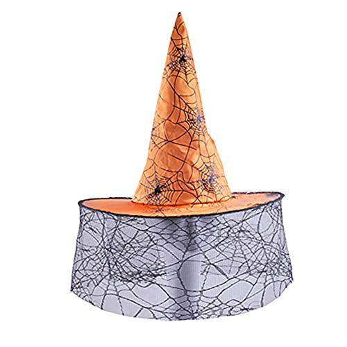 acccc Halloween Hat Halloween Witch Hat Halloween Pointed Cap with Colored Ribbon Multiple Styles Adult Children s Hat Suitable for Halloween Role-Playing Parties Flocking Material@Yellow