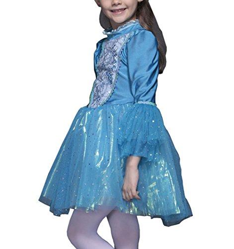 Preisvergleich Produktbild Das beste Eiskönigin Prinzessin Kostüm Kinder Glanz Kleid Mädchen Weihnachten Verkleidung Karneval Party Halloween Fest
