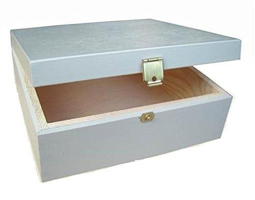 LACKIERTES HOLZ GRAU - HOLZBOX AUFBEWAHRUNGSBOX GESCHENKBOX SCHMUCKKASTEN SCHATULLE lackiertes Holz -