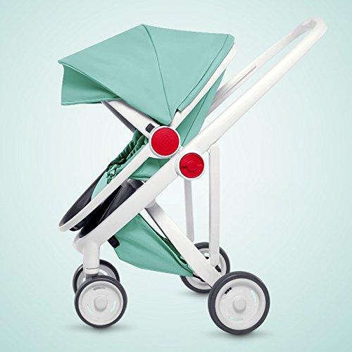 LZTET Kinderwagen Buggy 2in1 Reisesystem mit Babywanne und Kindersitzeinheit Tragbare Faltung,GreenCommutation