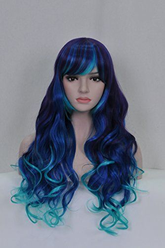 Beauty Smooth Hair Frauen Lang Laenge Lockiges Welle mit Voll Pony Cosplay Peruecke (Schwarz Blau and (Perücke Blau Schwarze)