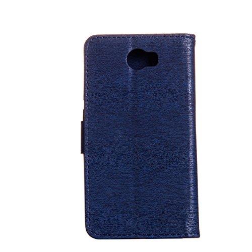 Coque Huawei Y5 II en Cuir,Housse de Protection pour Huawei Y5 2,Ekakashop Retro Herbe Verte Rabat Bling Shiny Brillant Shell Couvercle Housse Etui avec Motifs de Femmes et Chat Mignon Tendance Style  Bleu Profond