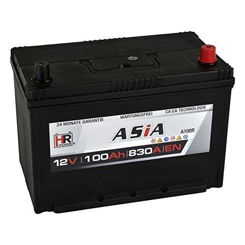 HR HiPower ASIA Autobatterie 12V 100Ah Japan Pluspol Rechts Starterbatterie ersetzt 70Ah 80Ah 90Ah 95Ah