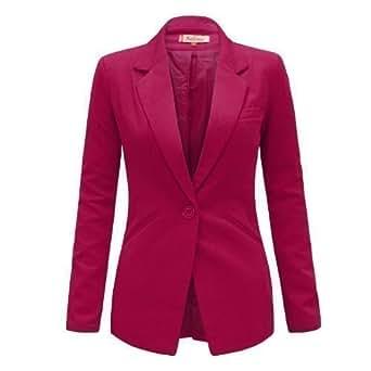 Envy Boutique - Veste Femme Blazer Ajusté 1 Bouton Epaulette Habillé - 42, Rose Vif