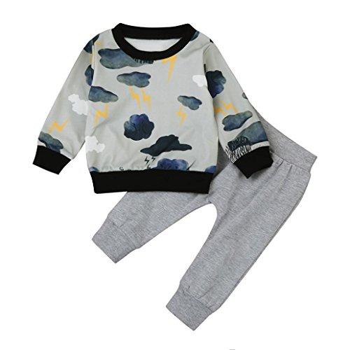 URSING Baby Jogginganzug Kleinkind Herbst Winter Baby Junge Mädchen Wolke Gedruckt Lange Hülsen T-Shirt Sweatshirt Tops + Casual Hosen Sport Einzigartiges Outfit Set (18M/90CM, (Kostüm Cloud Kinder)