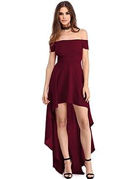 elegante abito cerimonia da donna vestito lungo damigella scollo barchetta festa party