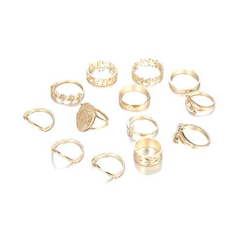 Yisily Galvani Ringe Blatt-Ring Mit Diamant-Muster-Goldringe Sonder Ringe Für Partei Für Den Tanz Für Die Dekoration 13 Stück Ringe Anzug Sku4289