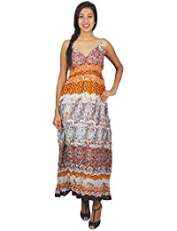 Old Khaki Printed Cotton Casual Women's Girls Sleeveless Dress in Multicolor with Contrast & Free Shipping