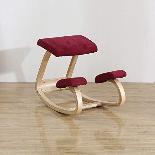 Tintin's shop sedia ergonomica schienale ergonomico, sgabello per ginocchia bilanciato per la schiena, tensioni sul collo e sulle spalle, sedia a dondolo in legno sgabello red