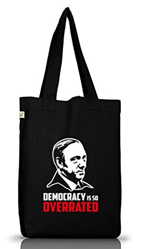 HOC - Democracy Is So Overrated, Jutebeutel Stoff Tasche Earth Positive (ONE SIZE) Black