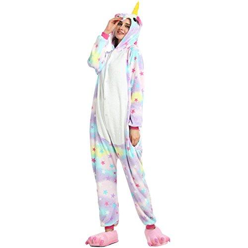 Onesie Jumpsuits für Damen Herren Kinder Weiches Flanell Schlafanzug Cosplay Kostüme Größe von 90 cm bis 180 cm (Empfohlene Höhe S ( 140cm - 150cm ), Einhorn-Stern) (Chicken Little Kostüme)
