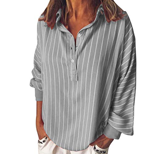 BHYDRY Mode Frau lose beiläufige gestreifte Knopf Revers Langarm Shirt Top Bluse(XXX-Large,Grau) Xxx Large Kostüm