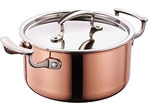 Faitout cuivre - 24 cm avec couvercle en acier inoxydable cuivre-pot 5,8 litres-cuivre, casserole, intérieur gradué, hauteur 13 cm