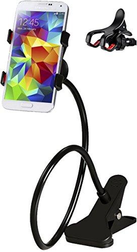 M&H-24 Handyhalterung Schwanenhals Handy Halterung Handyhalter Smartphone iPhone Klammer Clip Universal Gadget für Haus Büro Bett Tisch, 360 Grad Drehbar Verstellbar Schwarz