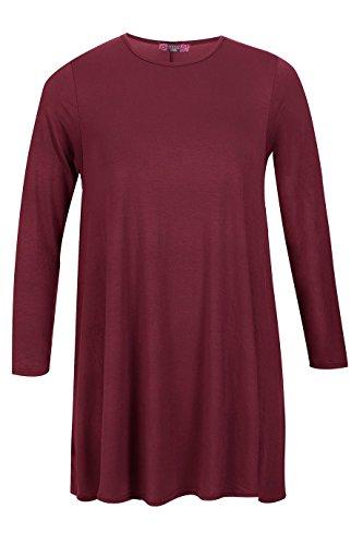 Damen Plus Größe Plain Swing-Kleid EU-Größe XL XXXL ( 44-52 ) Wein