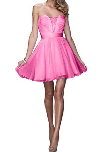 Missdressy Liebling Ciffon Kurz Herzform Traegerlos Falten A-Linie Partykleid Ballkleid Hochzeitsgast Kleid Pink