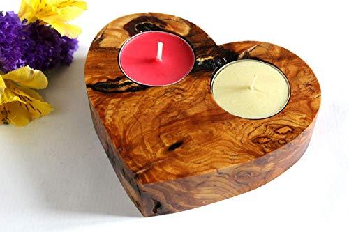 Handgefertigter Kerzenhalter aus Olivenholz, einzigartiges Geschenk zum Valentinstag, Hochzeit, Hauserwärmung, Geburtstag, Jubiläum, für ihn, für Sie, exklusiv. KOSTENLOSE Sendungsverfolgung