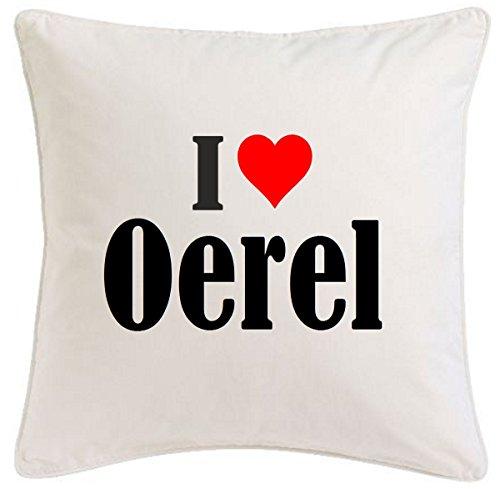 Kissenbezug I Love Oerel 40cmx40cm aus Mikrofaser ideales Geschenk und geschmackvolle Dekoration für jedes Wohnzimmer oder Schlafzimmer in Weiß mit Reißverschluss
