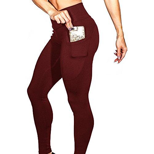 FRAUIT Hohe Taille Frauen Mädchen Leggings Damen Solide Workout Fitness Sport Yoga Hose Sporthose Pants Jogging Geschenk Für Mütter und Kinder und Freunde