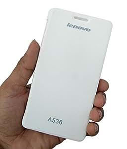 ECellStreet White Flip Cover Diary Folio Case for Lenovo A536