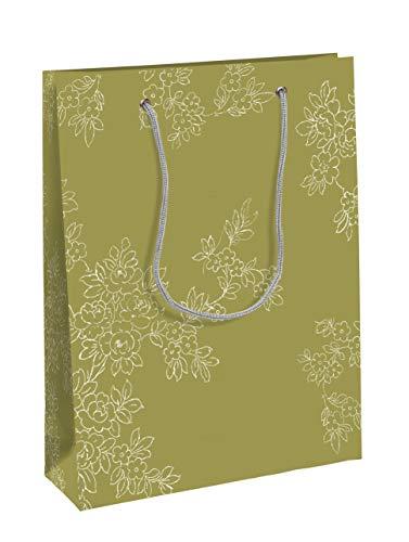 Clairefontaine Imperial 115228C Tasche Papier mittel 19x 10x 25cm matt Laminiertes Boden grün weiß mit Blumenmotiv mit Kordel silber (Imperial Tasche Und Papier)