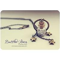 Collar de la botella pequeña de estrellas. Colgante de la botella de vidrio. Lindo collar, original collar, collar de estrellas, encanto de botella miniatura, regalos para mujeres