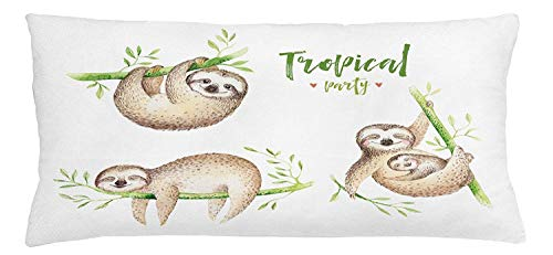 Icndpshorts Sloth Throw Pillow Cushion Cover, Cute Babies in Tropical Nature Theme Exotic Palm Tree Leaves Nursery Aloha, Decorative Square Accent Pillow Case, 18 X 18 inches, Pale Brown Green -