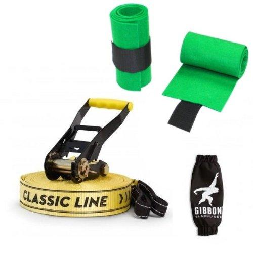 Paquet Slackline Gibbon CLASSIC LINE X13 avec une protection du rochet + d'arbre intégré