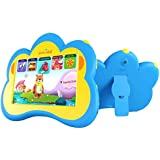 """Kids Tablet, B.B.PAW 7"""" American English Eye-protection Whole Brain Education Gifts Tablet for Kids 2-6 Years Old with 90+ Preloaded Learning and Training Apps(Silicone Case Included)-Sky Blue"""